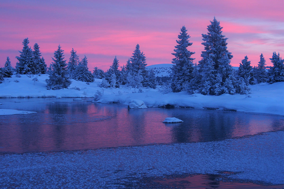 Sonnenuntergang in Ljosmyrane . bei Sjusjöen . Norwegen (Foto: Andreas Kuhrt)