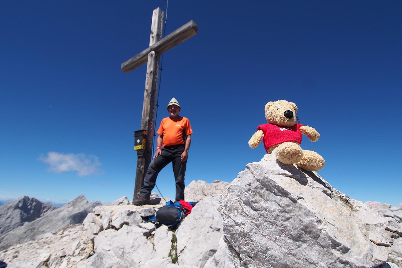 Klaus & Bärchen auf der Speckkarspitze (2621 m) . Karwendel (Foto: Andreas Kuhrt 2017)