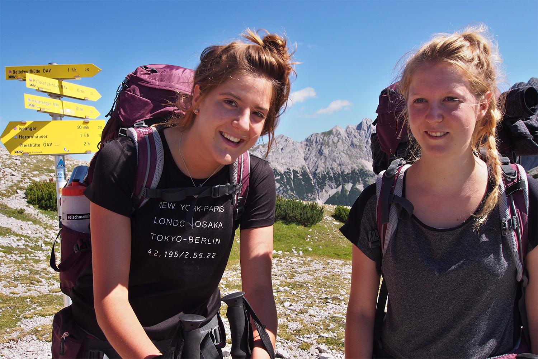 Zwei Lindauer Mädchen am Lafatscher Joch . Karwendel (Foto: Andreas Kuhrt 2017)