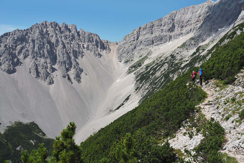 Wilde-Bande-Steig zum Stempeljoch (2215 m) . Karwendel (Foto: Manuela Hahnebach 2017)