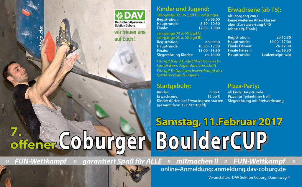 7. Coburger BoulderCUP . 11.02.2017 . Kletterzentrum Coburg