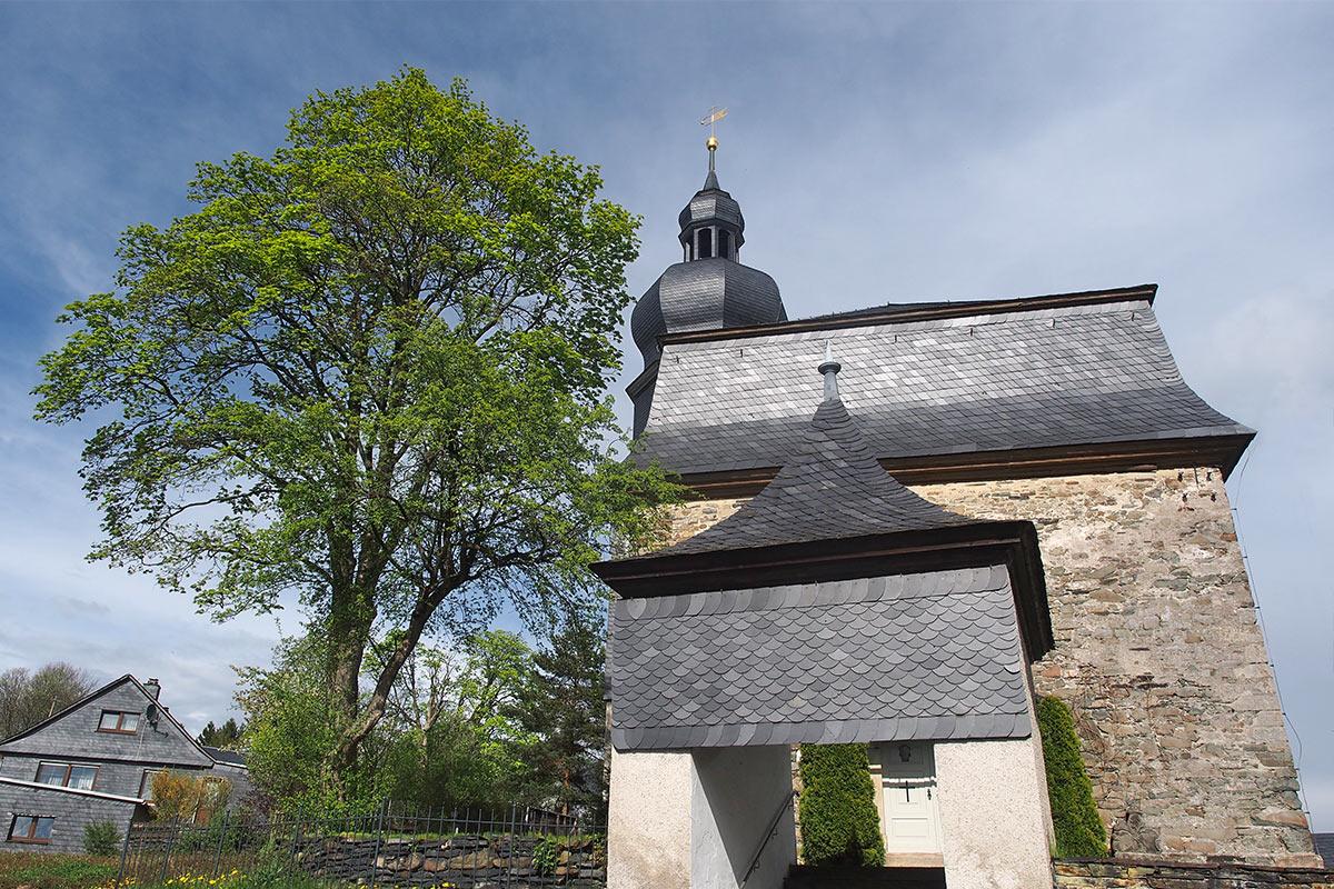 Schieferkirche in Lehesten . Frühlingswanderung im Schieferpark Lehesten (Foto: Andreas Kuhrt 2017)