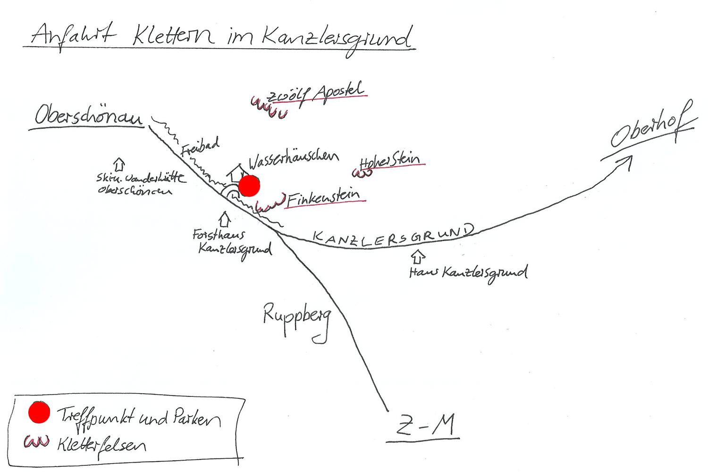 Anfahrtsskizze Kanzlersgrund bei Oberschönau