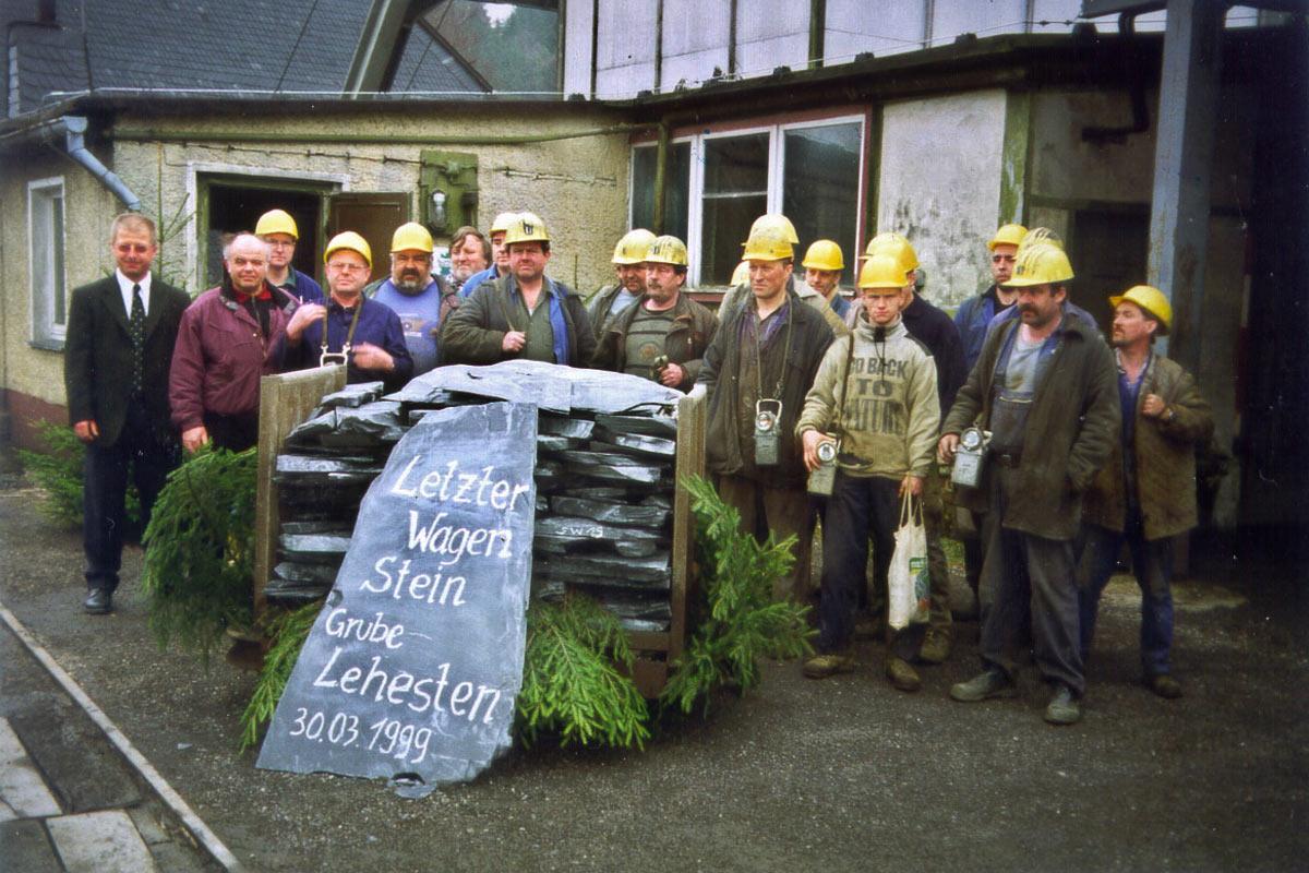 Letzter Hunt Schiefer 1999 aus der Grube Lehesten (Foto: Werner Liebeskind, Lehesten)